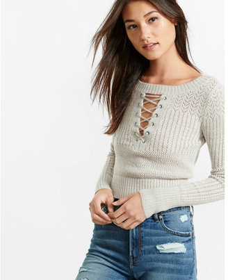 Express mixed stitch lace-up cropped sweater $69.90 thestylecure.com