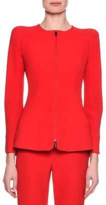Giorgio Armani Collarless Zip-Front Silk Jacket, Pink