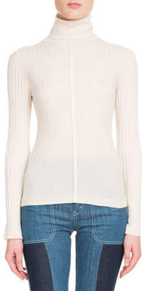 Chloé Long-Sleeve Fine-Ribbed Wool Turtleneck Sweater