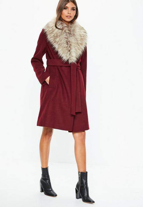 Burgundy Faux Fur Collar Coat, Burgundy