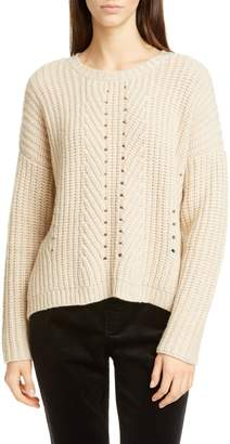 Eileen Fisher Pointelle Stitch Recycled Cashmere & Wool Sweater