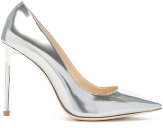 Jimmy Choo Romy 100 Mirror Leather Heels in Liquid Mirror Silver | FWRD
