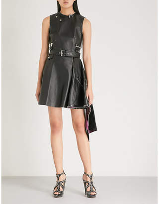 Alexander McQueen Peplum-hem leather mini dress