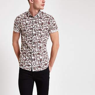 River Island Burgundy paisley print short sleeve shirt