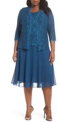 Alex Evenings Lace Bodice Tea Length Dress with Jacket
