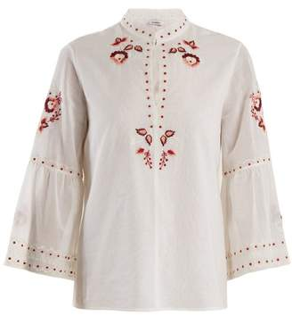 Vilshenko Niamh Embroidered Cotton Blouse - Womens - Ivory Multi