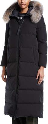 Moncler Bernache Long Puffer Coat w/ Hood & Fur Trim