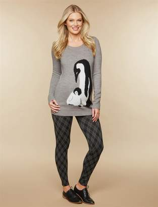 Motherhood Maternity Under Belly Fleece Lined Maternity Leggings- Plaid
