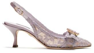 Dolce & Gabbana Lori Crystal Embellished Lace Kitten Heel Pumps - Womens - Light Purple
