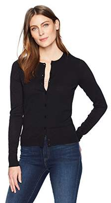 Lark & Ro Women's Long Sleeve Mid Length Crewneck Cardigan Sweater