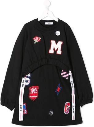 MSGM multi-patches drawstring sweat dress