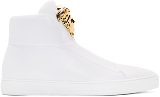 Versace White Leather Medusa High-Top Sneakers $1,175 thestylecure.com