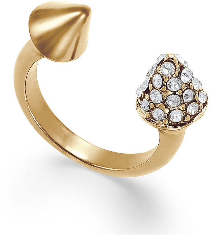 Bar III Ring, Gold-Tone Pave Spike Ring