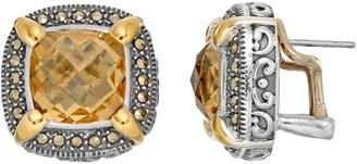 Lavish By Tjm Lavish by TJM Sterling Silver Yellow Quartz & Marcasite Halo Stud Earrings