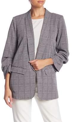 Daniel Rainn DR2 by Plaid Printed Gathered Sleeve Blazer (Petite)
