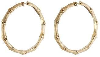 John Hardy Brushed 18k yellow gold medium bamboo hoop earrings