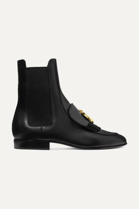 Chloé C Logo-embellished Leather And Suede Ankle Boots - Black