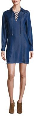 7 For All Mankind Lace-Up Chambray Dress $199 thestylecure.com