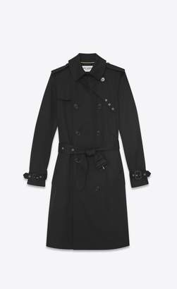 Saint Laurent Double Breasted Belted Trench Coat In Black Gabardine