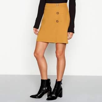 Red Herring Gold Buckle Detail Ponte Mini Skirt