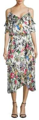 Parker Cold-Shoulder Floral Ruffle Dress