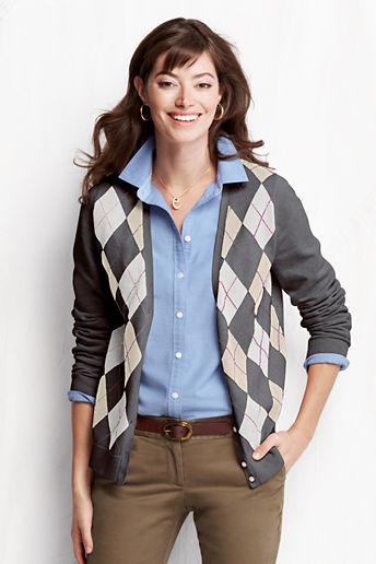 Lands' End Women's Long Sleeve Fine Gauge Cotton Argyle V-neck Cardigan