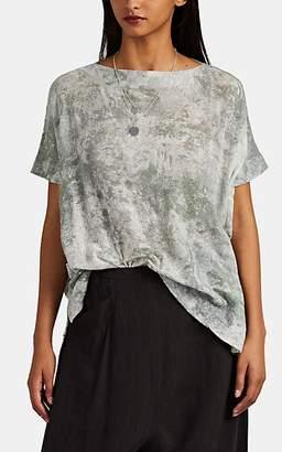Pas De Calais Women's Tie-Dyed Cotton Gauze Dolman T-Shirt - Green