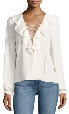 L'acadamie Ruffled Lace-Up Blouse $168 thestylecure.com