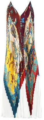 Salvatore Ferragamo Printed pleated silk dress