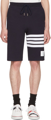 Thom Browne Navy Classic Four Bar Lounge Shorts $550 thestylecure.com