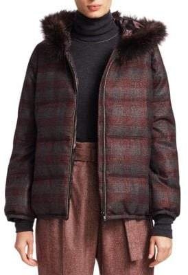 Brunello Cucinelli Fox-Fur Trimmed Plaid Puffer Jacket
