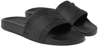 Versace Logo-Embossed Rubber Slides - Men - Black