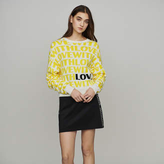 Maje Jacquard sweater with slogan