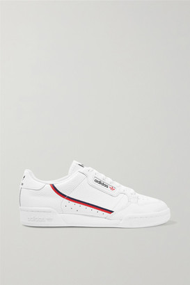 adidas Continental 80 Grosgrain-trimmed Textured-leather Sneakers - White