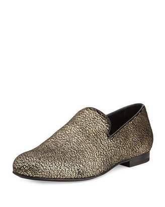 Jimmy Choo Sloane Metallic Textured Fabric Slipper, Gold $695 thestylecure.com