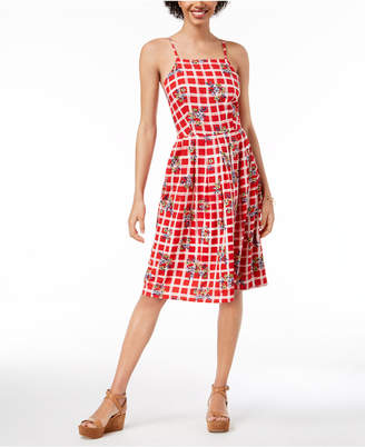 Maison Jules Printed Spaghetti-Strap Dress