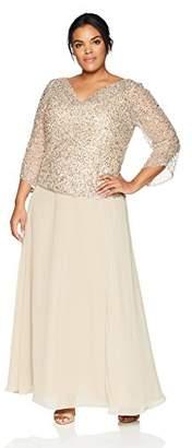 J Kara Women's Plus Size Long Beaded Dress with Cowl Neck