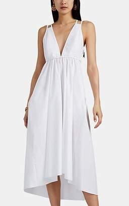 Barneys New York Women's Cotton Poplin V-Neck Dress - White