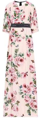 Dolce & Gabbana Floral-printed velvet dress