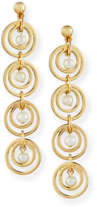 Lele Sadoughi Tiered Pearly Hoop Drop Earrings