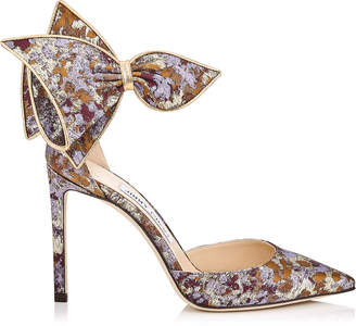 Jimmy Choo KELLEY 100 Grape Mix Painterly Brocade Pointy Toe Pumps with Bow Detail