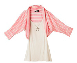 Amy Byer Girls' 7-16 Pink Striped Hacci Top with Star Necklace