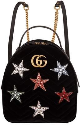 Gucci Velvet Marmont Matelasse Star Backpack