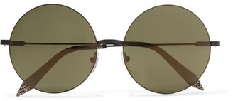 Victoria Beckham - Feather Round Stainless Steel And Acetate Sunglasses - Black $450 thestylecure.com