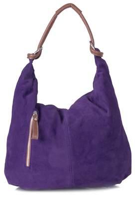 Big Handbag Shop Women Real Italian Suede Leather Large Hobo Shoulder Bag (Baby Pink)