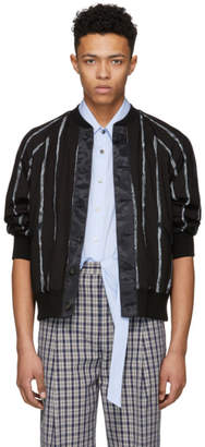 3.1 Phillip Lim Black Painted Stripe Bomber Jacket
