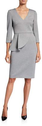 Badgley Mischka V-Neck Crepe Peplum Dress