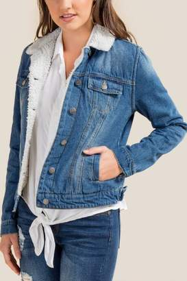 francesca's Kris Sherpa Lined Denim Jacket - Medium Wash