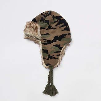 River Island Boys khaki camo faux fur trim trapper hat