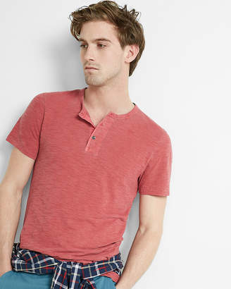 Express Wide Placket Garment Dyed Short Sleeve Henley